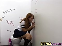 Cfnm babe at gloryhole