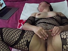 Asian MILF - Pussy Bringing off While Watching Porn in Black Stockings