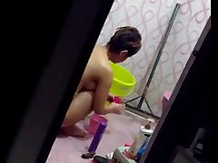 sectretly recording to the fullest girl nude and wasing her panty