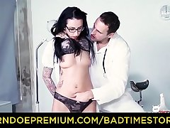 BADTIME STORIES - Inked slave German MILF red-faced by doc