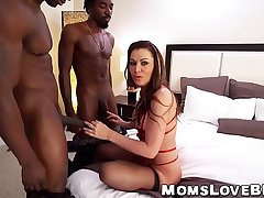 Two big dicked black hunks plow big pain in the neck MILF hard and fast