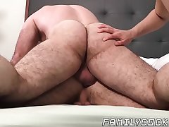 Hairy hung stud bare fucks stepson and his delish friend
