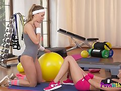 Lesbian duo tribbing after gym workout