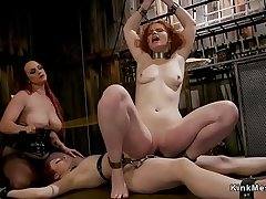 Mistress whips and anal fucks twosome slaves