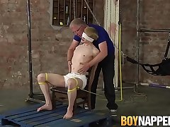 Roped up twink gets painful cum launching handjob by Old hand