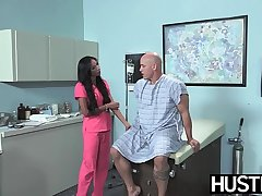Latina nurse Sadie Santana gets both holes stretched constant