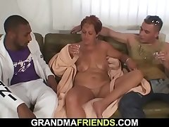Granny gets double-banged in all her fuck-holes