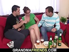 Trilogy party with loaded old woman