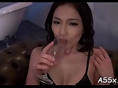 Lusty anal toying for cute asian babes during wild threesome
