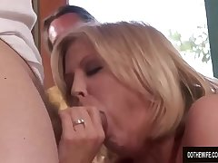 Mature wife Lya Pink wildly sucks and fucks stud while husband watches