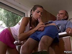 Alms-man beating old dad caught him fucking his GF
