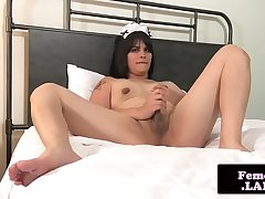 Femboy maid stroking hard learn of
