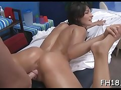 Sexy chick plays with rod then gets nailed hard