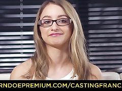 CASTING FRANCAIS &ndash_ Sweet blonde up glasses pounded in the brush first porn scene