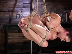 Bondage teen spanked and fingered by maledom