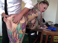 Truly tattooed subslut Piggy Mouth slammed by rough dom