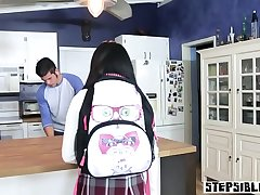 Latina stepsister teen show her tits to her stepbrother