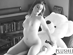 Sexy 18yo Costa Rica girl first time sex with teddy bear. full orgasm coupled with squirting.