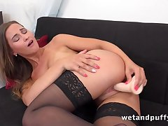 Teen on touching full of life tits tests dildo in the living room