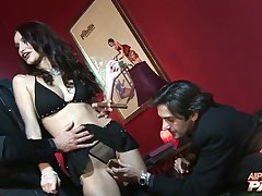 Skillful pornstar is brim about to take several cocks