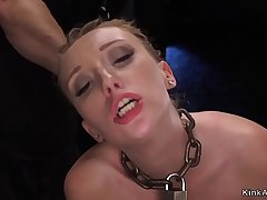 Crotch roped hottie throat fucked