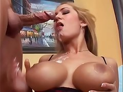 Awesome blonde slut Trina Michaels sucks cock then rides it by her tight asshole