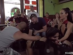 Petite handsomeness gangbang fucked in cafe