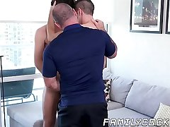 Hairy daddy gets barebacked hard in wild stepson threesome