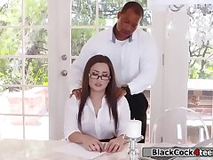 Black guy boss fucks Gabriellas racy ass